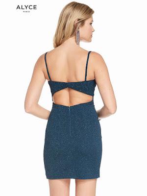 V-neck Alyce Paris homecoming Short dress Teal Color Back side