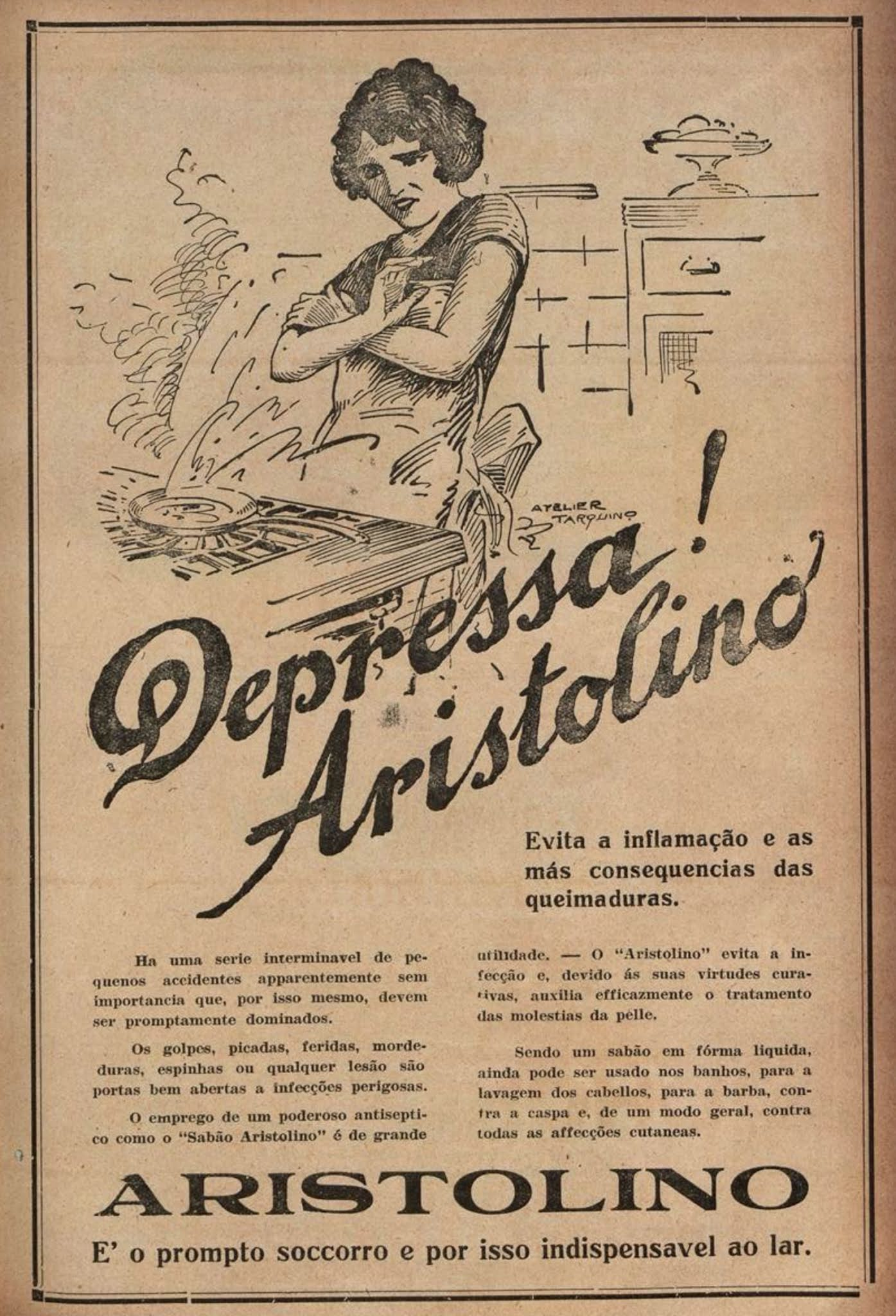 Propaganda do Sabão Aristolino em 1928 para combater inflamações de queimaduras