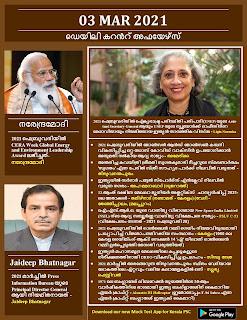 Daily Malayalam Current Affairs 03 Mar 2021