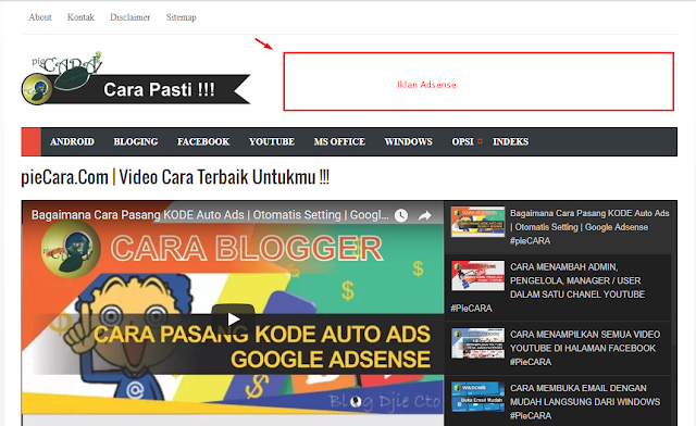 Bagaimana Cara Menerapkan Iklan Pada Head Blog Bagian Atas Sebelah Kanan