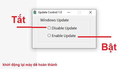 Update Control  – Phần Mềm tắt tính năng Windows Update