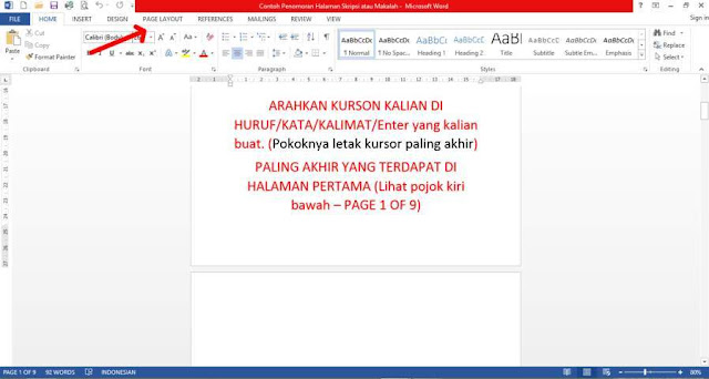 Penomoran skirpsi dan makalah, penomoran microsoft word, penomoran ms. word
