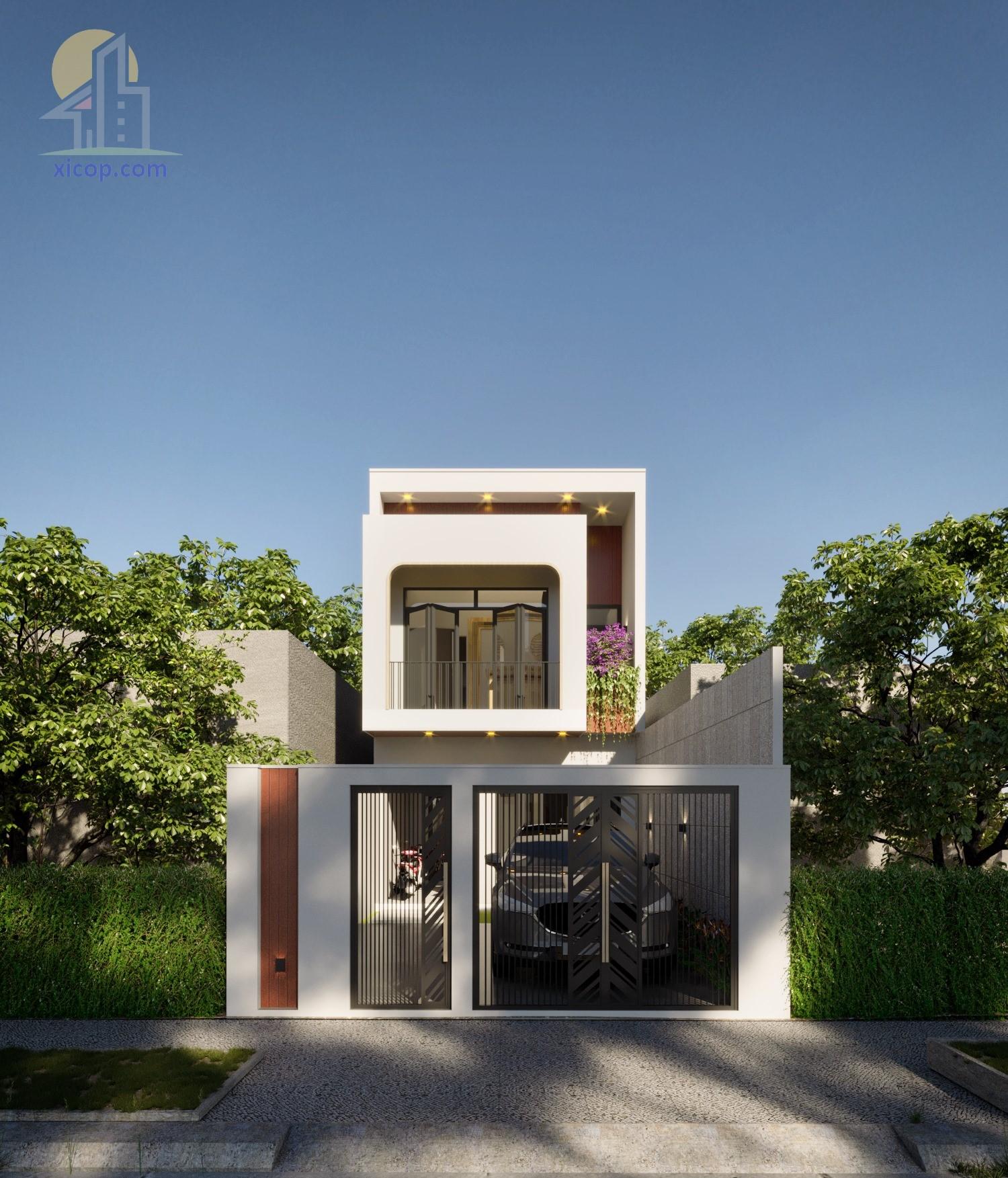 Mẫu nhà 2 tầng mái bằng đơn giản mà đẹp hiện đại
