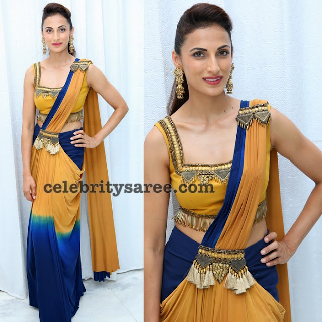 Shilpa Reddy Designer Saree in Tri Color