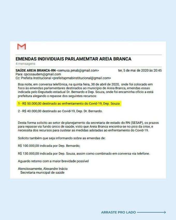 Prefeitura de Areia Branca emite nota de esclarecimento sobre a emenda destinada pelo Deputado Souza