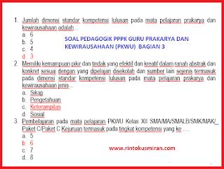 SOAL PEDAGOGIK PPPK GURU PRAKARYA DAN KEWIRAUSAHAAN (PKWU)  BAGIAN 3