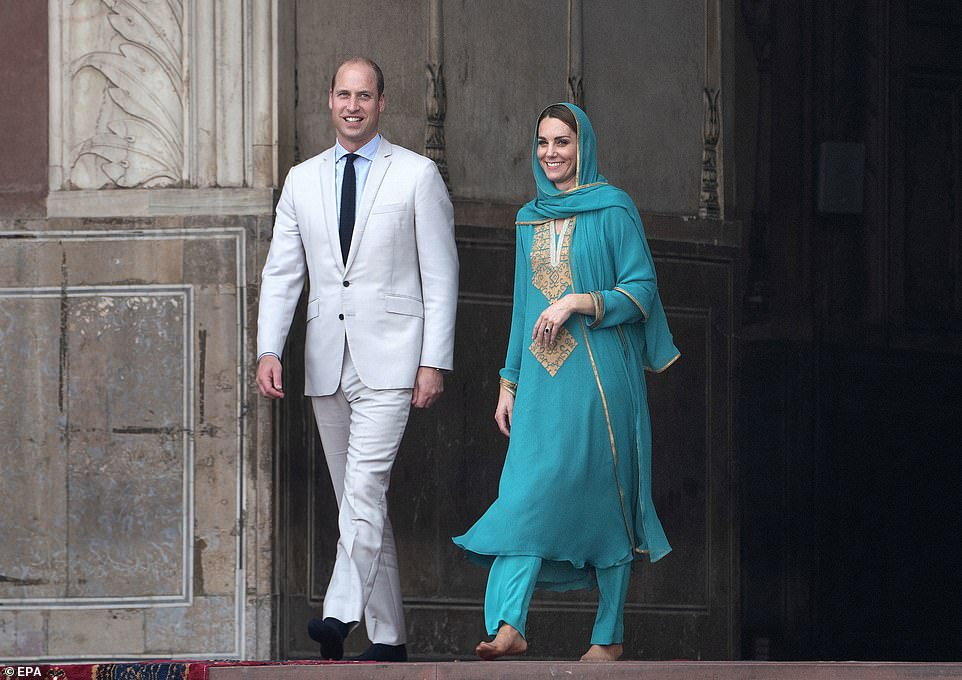 Kate Middleton & Prince William coming bare feet to the mosque. Kate covering her head showing respect to our religion