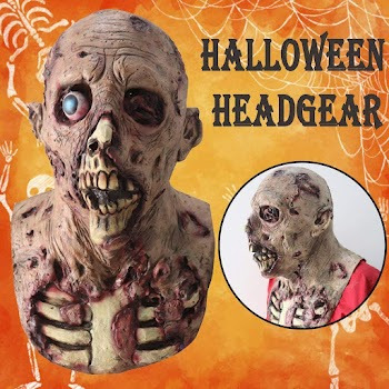 40% OFF Halloween Scary Full Head_Cover Headgear Funny Prank Halloween Prop for Cosplay Parties Halloween Costumes