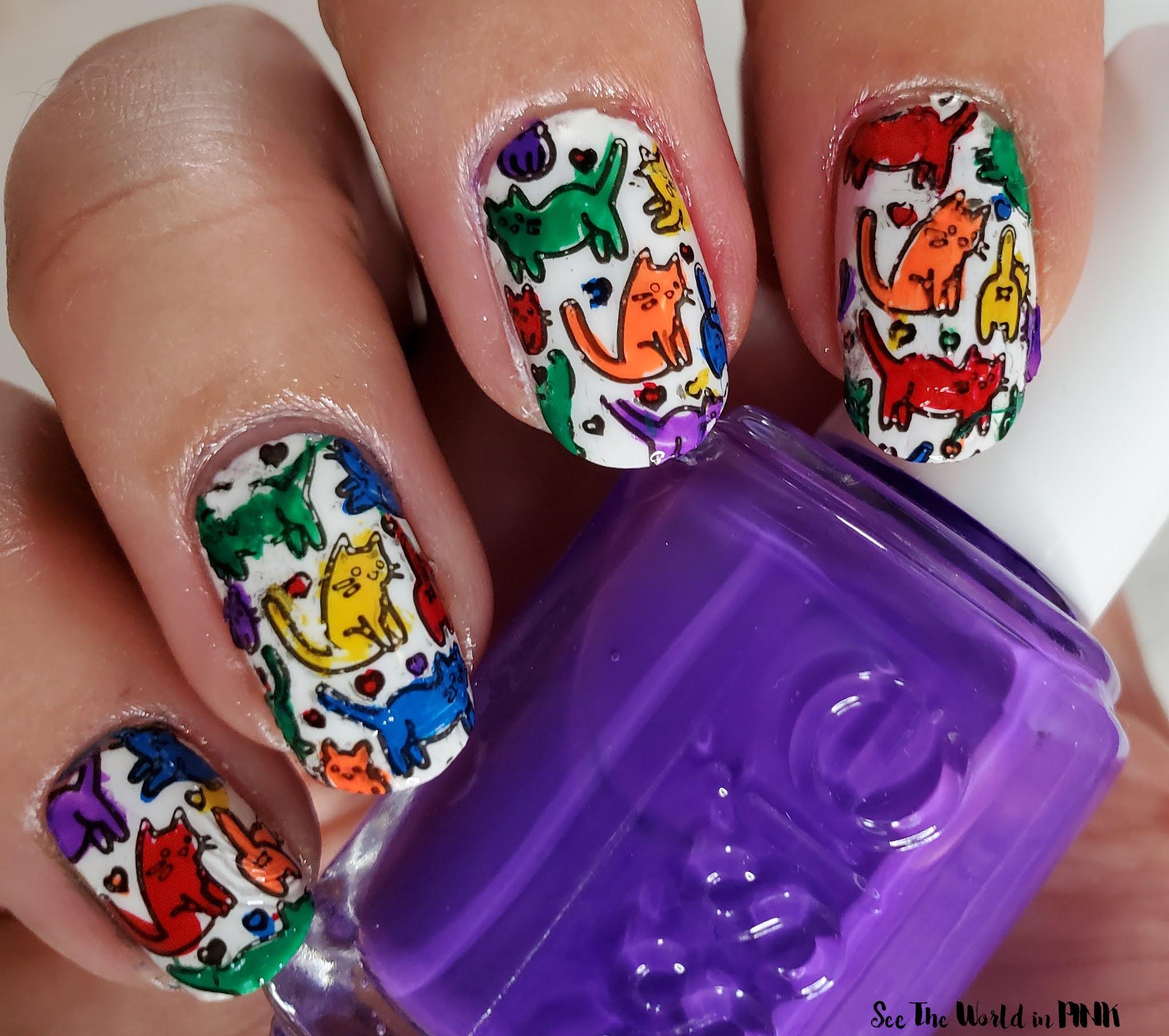 Manicure Monday - Pride Rainbow Kitten Nails