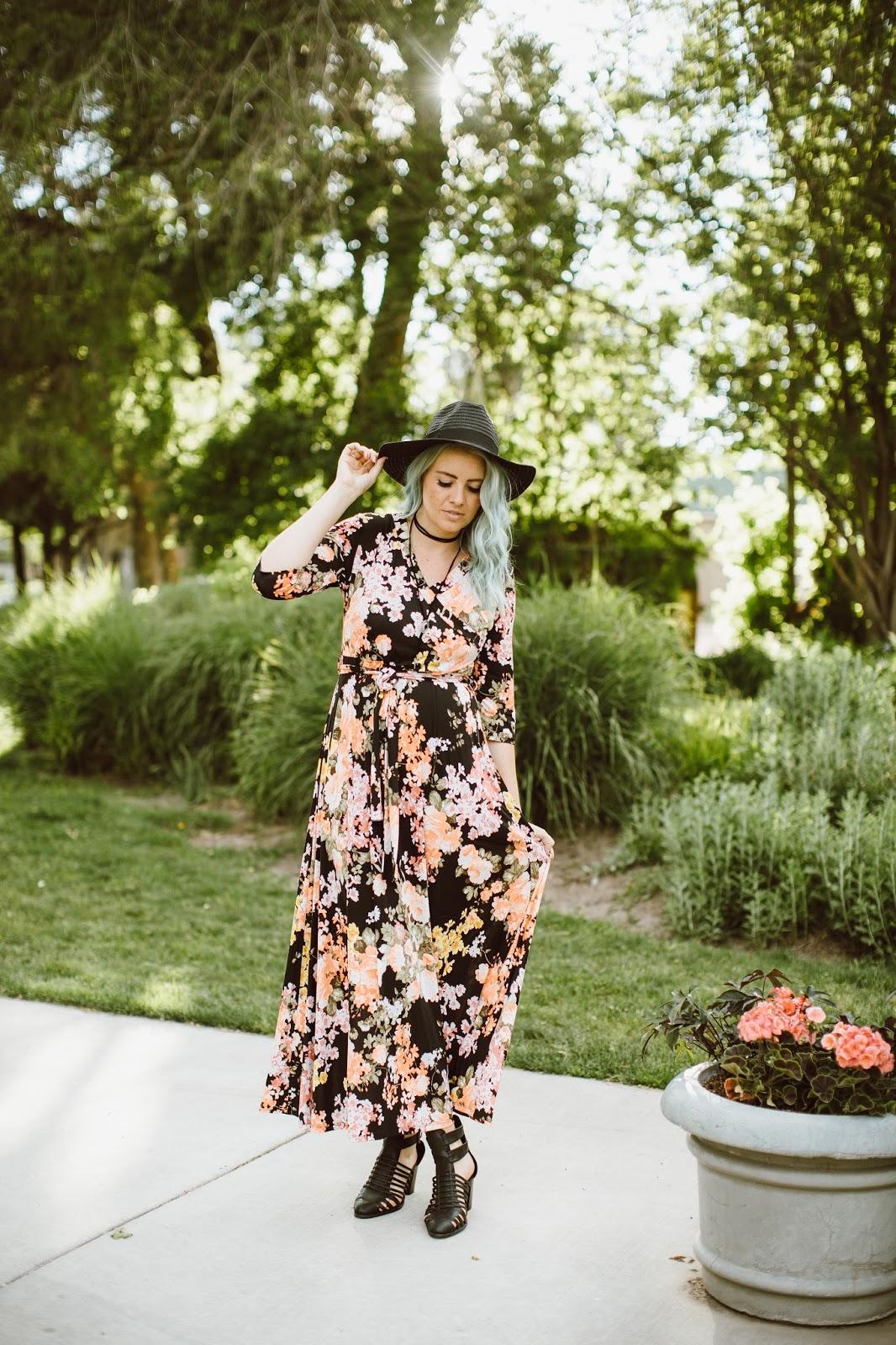 Nursing Friendly, Mint Hair, Floral Dress