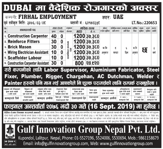 Jobs in Dubai for Nepali, Salary Rs 37,380