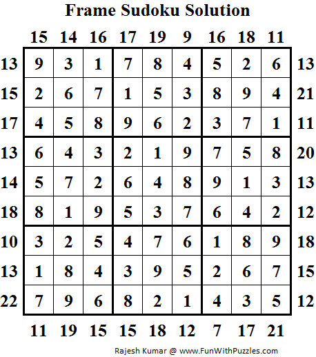 Frame Sudoku (Daily Sudoku League #85) Solution