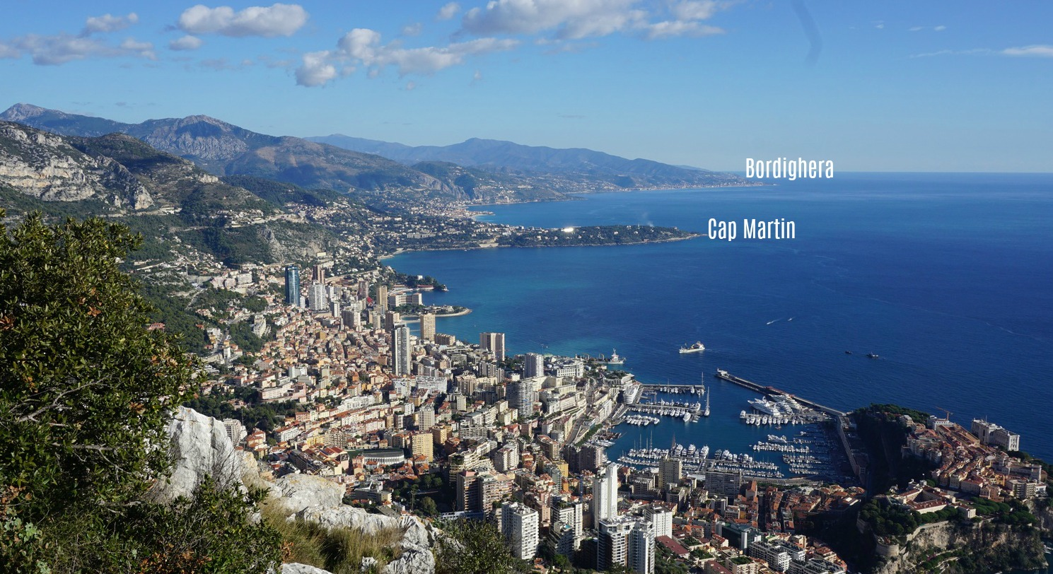 Cap Martin and Bordighera seen from trail to Tete de Chien