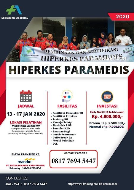 Hiperkes Paramedis murah tgl. 13-17 Januari 2020 di Jakarta