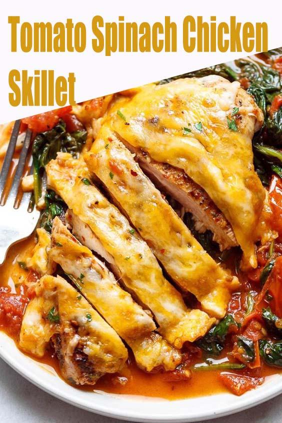Tomato Spinach Chicken Skillet