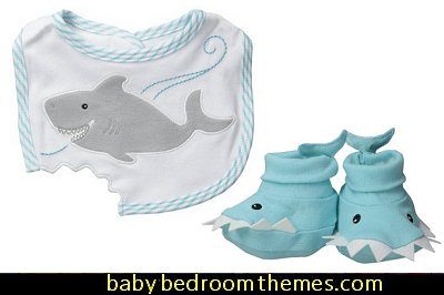 Bib and Booties Gift Set , Chomp and Stomp Shark baby shower gift ideas