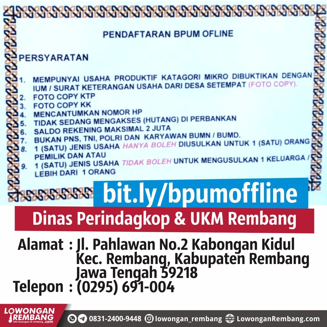 Persyaratan Pendaftaran Bantauan Pelaku Usaha Mikro (BPUM) Rembang Secara Offline