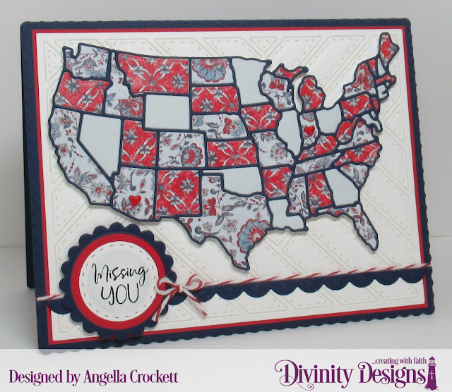 Divinity Designs: Adventure Awaits, USA Map Dies, Quilted Background Die, Americana Quilt Paper Collection, Scalloped Rectangles Dies, Scalloped Circles Dies, Circles Dies, Double Stitched Circles Dies, Card Designer Angie Crockett