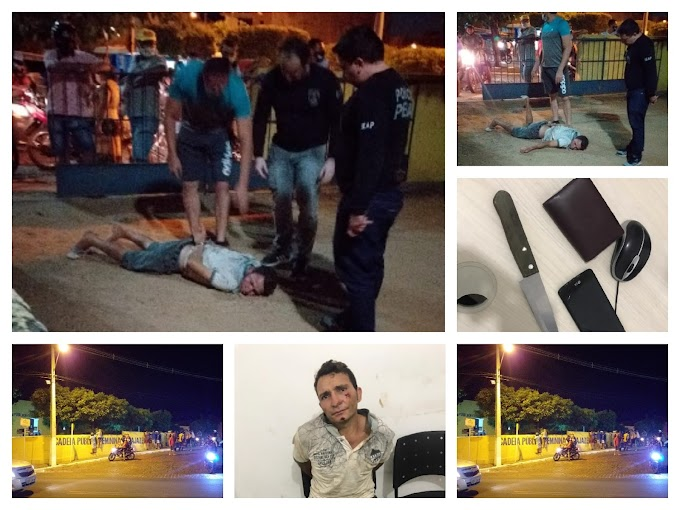 Policiais Penais evitam linchamento de elemento que tomou celular de assalto no centro de Cajazeiras na noite de ontem