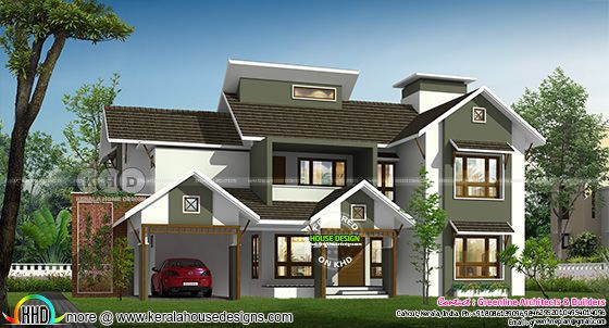 4 BHK mixed roof 3260 sq-ft home plan