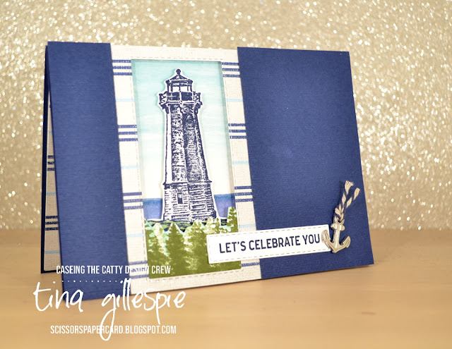 scissorspapercard, Stampin' Up!, CASEing The Catty, Sailing Home, Waterfront, Itty Bitty Birthdays, Sail Away DSP, Rectangle Stitched Framelits, Subtle TIEF, Masculine Card