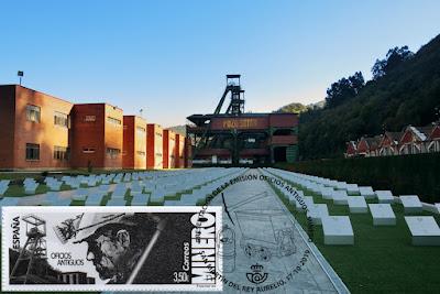 Tarjeta con el matasellos de presentación del sello de El Minero en el Pozo Sotón