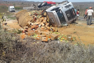 Caminhão tomba na BR-030