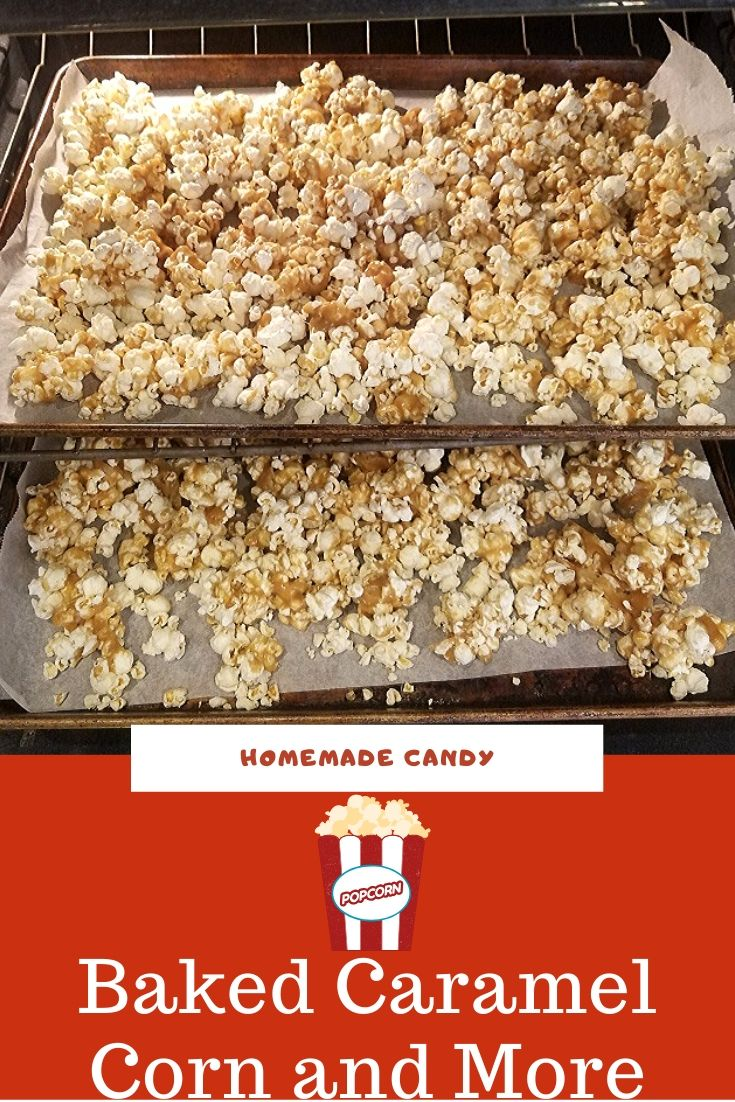 this is a pin for later popcorn baked with caramel photo