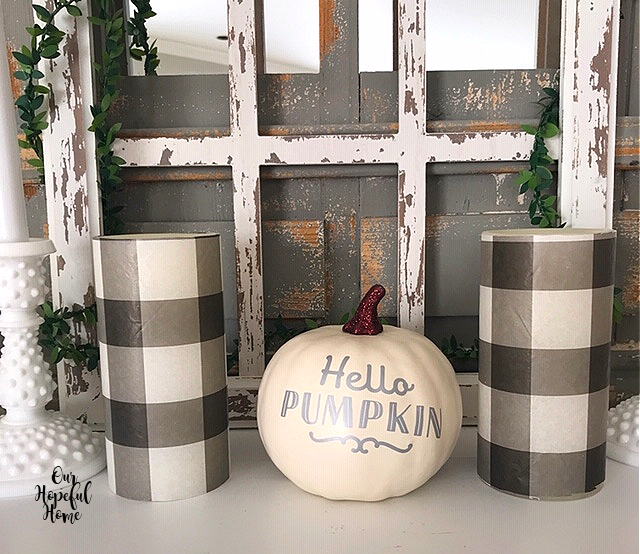 white Hello Pumpkin black white buffalo check LED candles