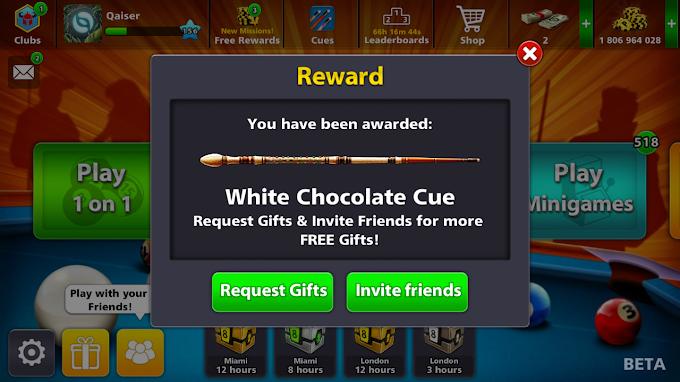 8 Ball Pool Free Wthite Chocolate Cue For All || 3rd Eid Special Reward