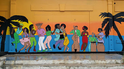Mural with dancers and musicians