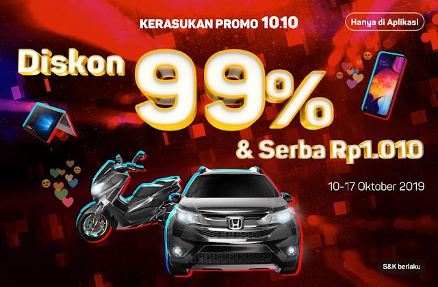 #Bukalapak - #Promo Kerasukan 10.10 Diskon 90% & Serba Rp.1.010 (s.d 17 Okt 2019)