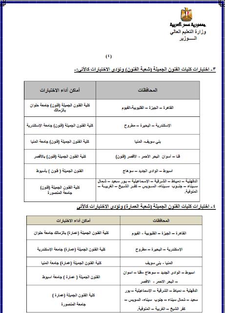 اماكن ومواعيد اختبارات القدرات للقبول بالكليات والجامعات 2018 للثانوية العامة
