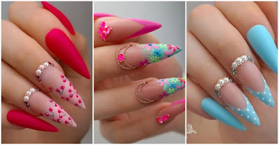 Beautiful colored pointed nails