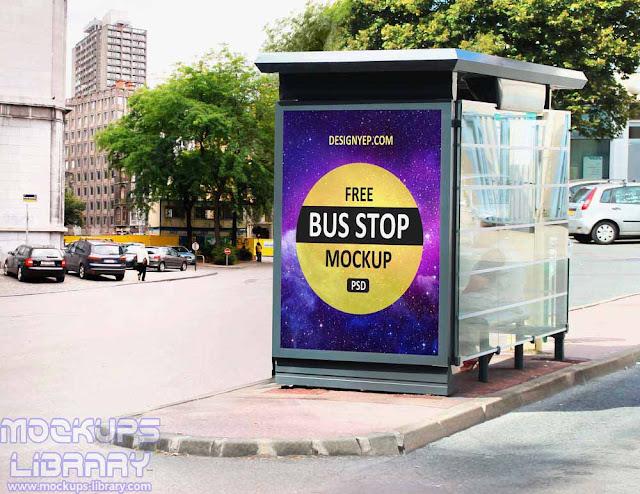 realistic bus stop mockup