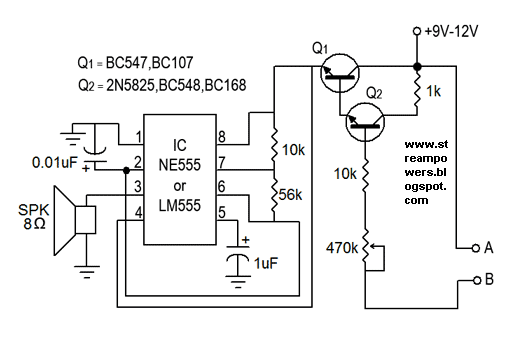 Simple Water Sensor Circuit Diagram using IC 555