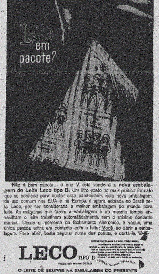 Propaganda de 1961 apresentava o Leir de Pacote Leco trazido pela Tetra Pak