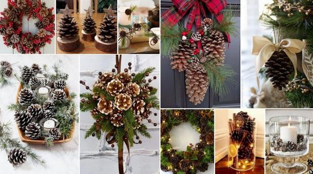 Χριστουγεννιάτικες Ιδέες με Κουκουνάρια