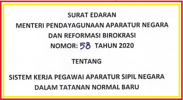 gambar surat edaran menpan rb no 58 tahun 2020