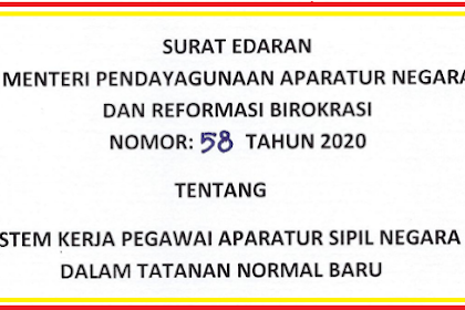 Surat Edaran menpan RB Tentang Sistem Kerja PNS/ASN Dalam tatanan Normal baru