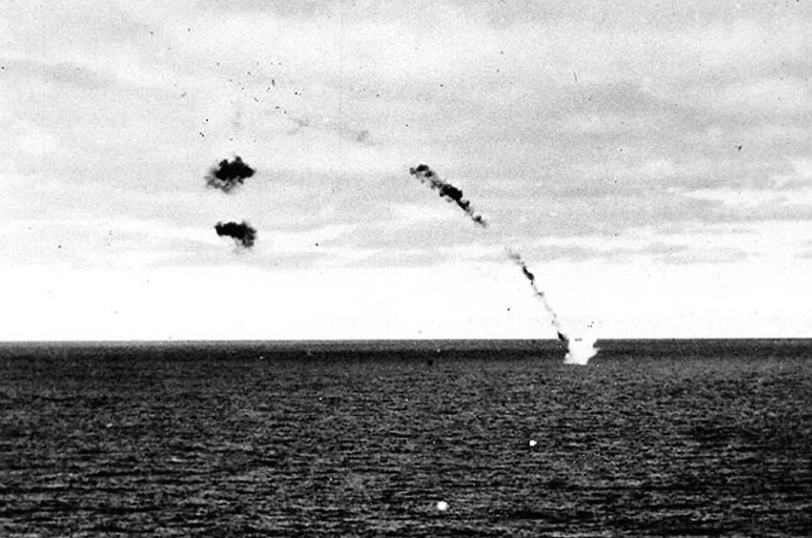 A Japanese Type 97 attack aircraft is shot down while attempting to carry out a torpedo attack on USS Yorktown, during the mid-afternoon of 4 June 1942.