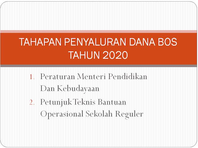 Tahapan Penyaluran Dana BOS untuk tahun 2020 yaitu Bulan Januari, April dan September