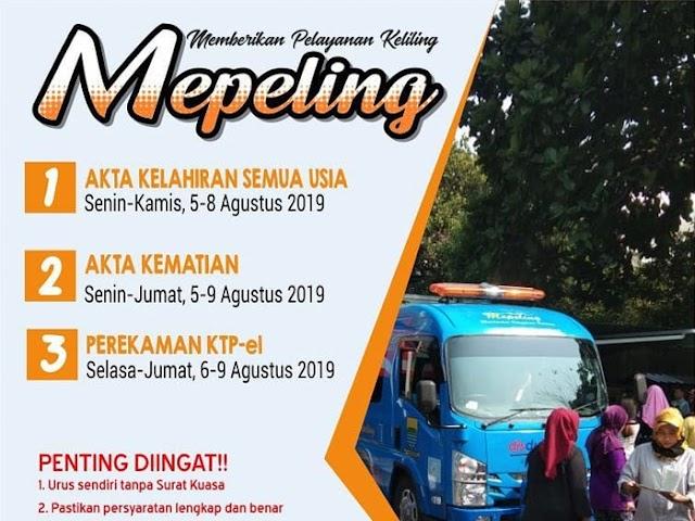Jadwal Layanan Mepeling Disdukcapil Kota Bandung 5 - 9 Agustus 2019
