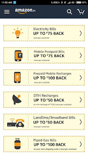 Amazon- Great Offers on Recharge and Bill Payment [Upto 40% Cashback]