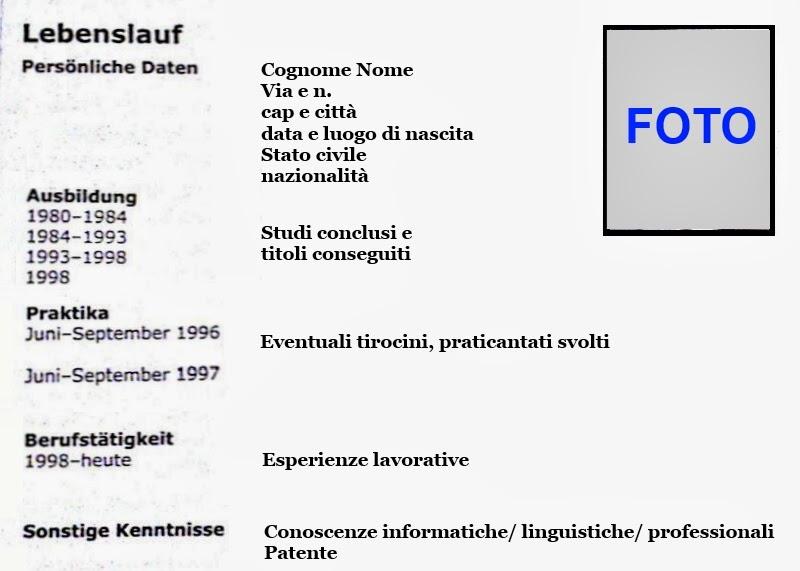 Curriculum Vitae Europeo Tedesco Firmakoek