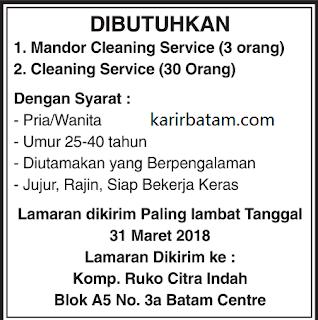 Lowongan Kerja Mandor Cleaning Service di Ruko Citra Indah
