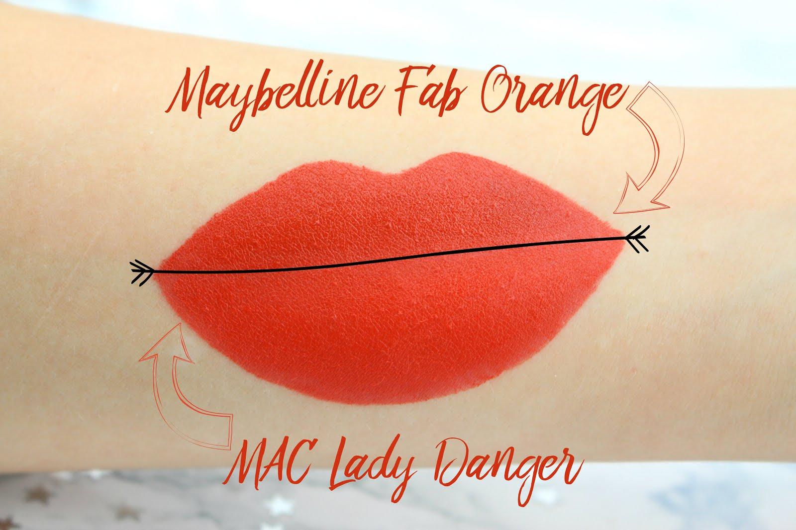 mac lady danger, mac lady danger lipstick, mac lady danger dupe, mac lady danger lipstick dupe, maybelline colordrama, maybelline colordrama fab orange, maybelline fab orange, nelly ray, nelly ray blog, different is better