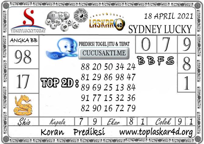 Prediksi Sydney Lucky Today LASKAR4D 18 APRIL 2021