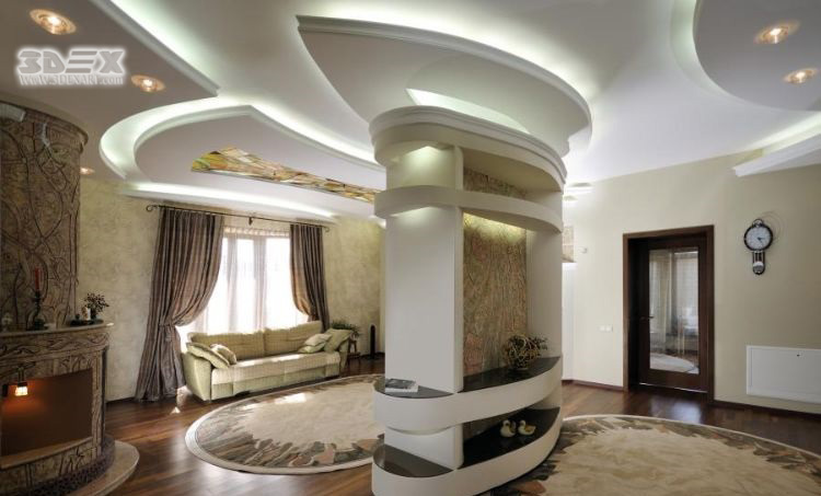 Plaster False Ceiling Designs For Living Room With LED Indirect Lighting  Ideas