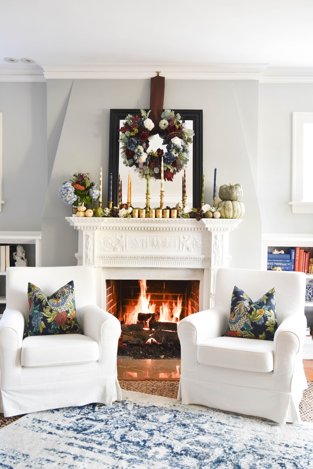 Thanksgiving mantel with DIY striped candles www.homewithkeki.com